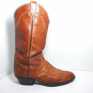Vintage Tony Lama Brown Leather Cowboy Boots Sz9.5